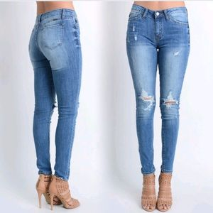Denim - New Distressed Skinny Denim Jeans